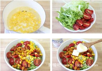秋季清热祛火凉菜杏仁蔬果沙拉